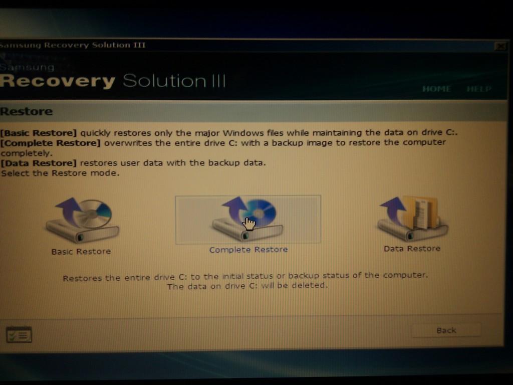 Przywracanie ustawień fabrycznych w laptopie samsung