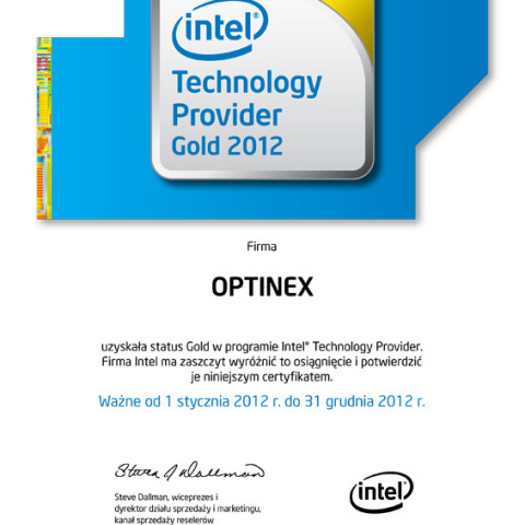Personalizowany Certyfikat Członkostwa Intel® Technology Provi